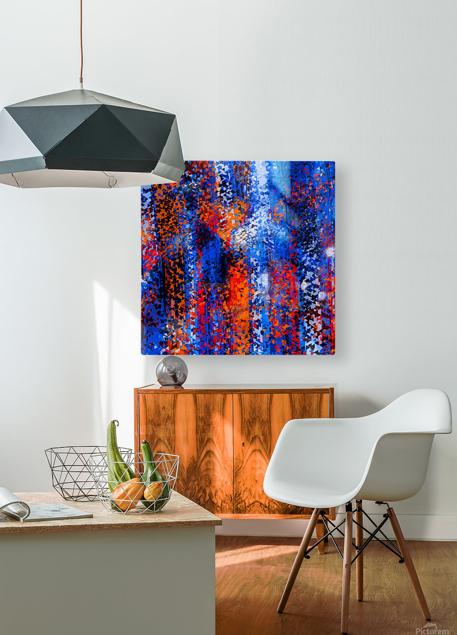 psychedelic geometric polygon shape pattern abstract in blue red orange  HD Metal print with Floating Frame on Back