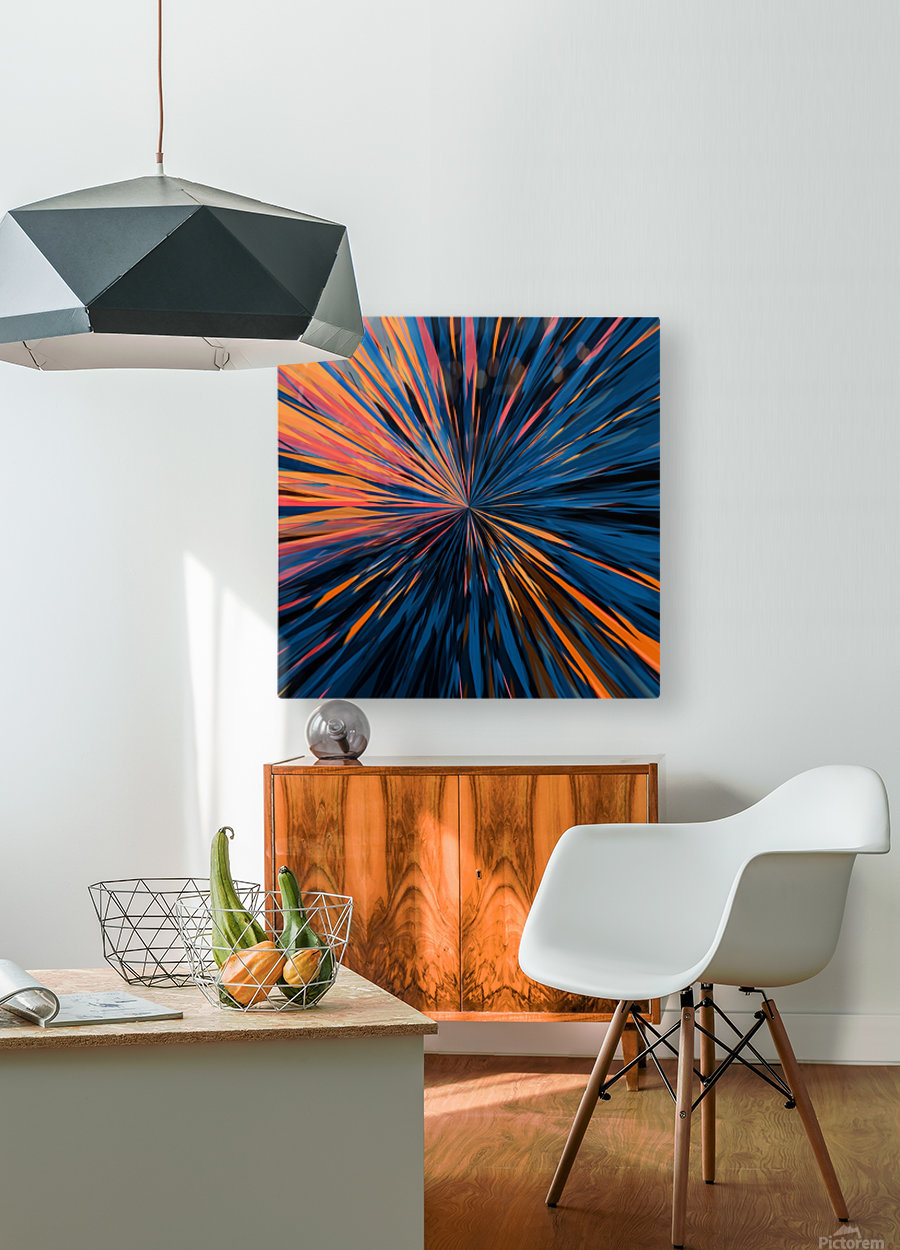 psychedelic splash painting abstract pattern in orange brown pink blue  HD Metal print with Floating Frame on Back
