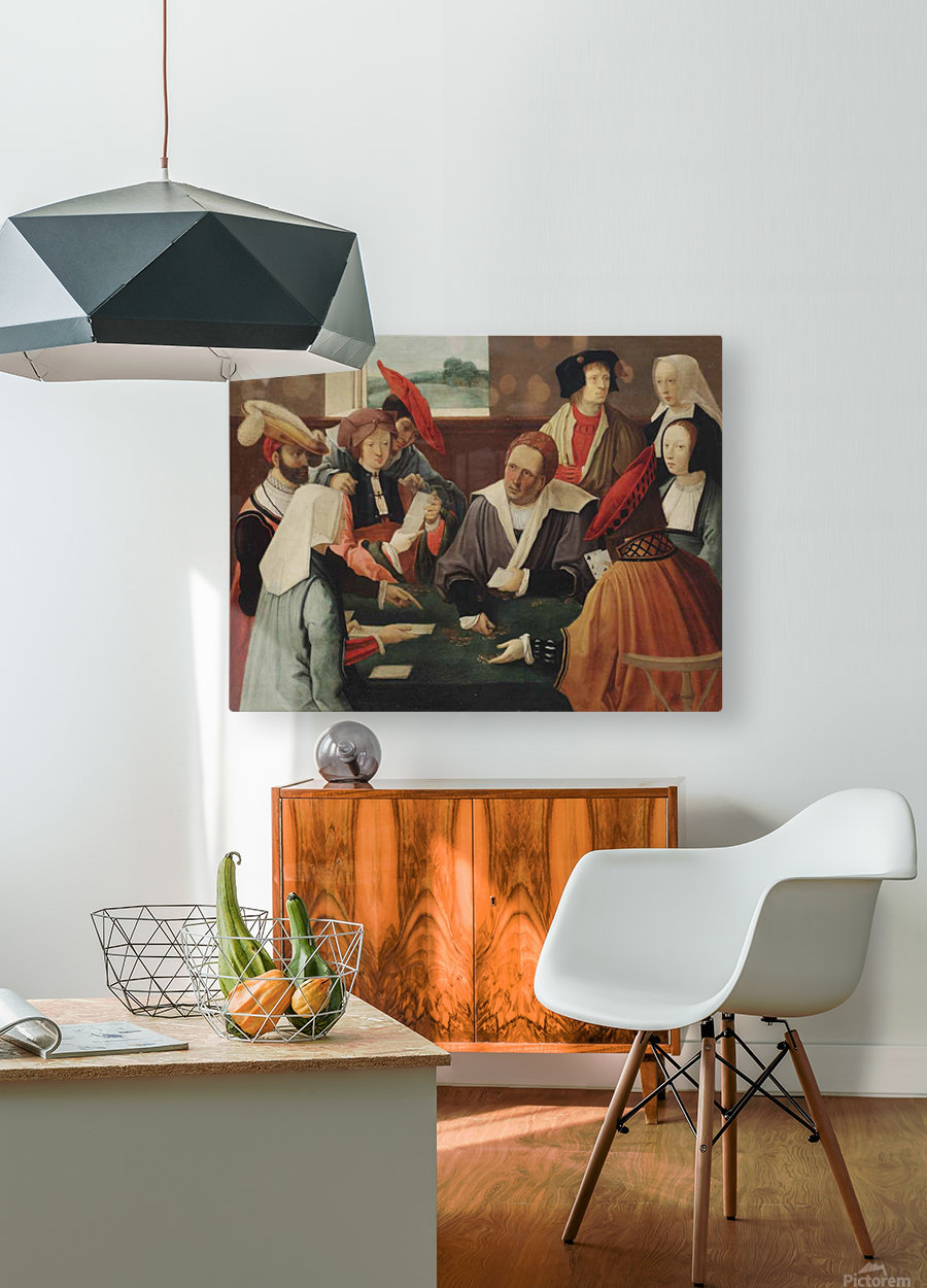 The card players  HD Metal print with Floating Frame on Back