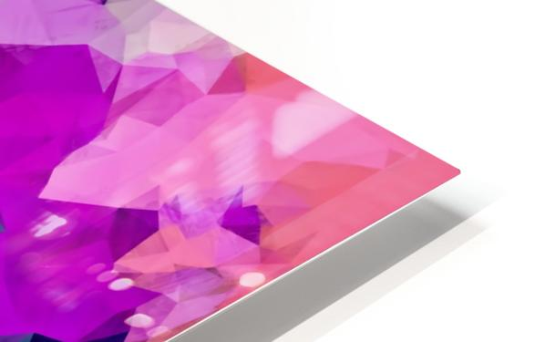 psychedelic geometric polygon pattern abstract in pink purple green HD Sublimation Metal print