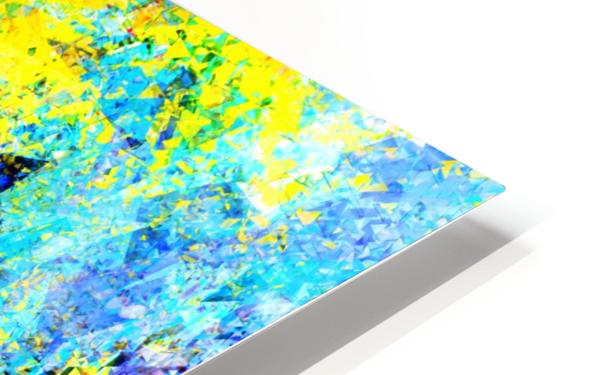 psychedelic geometric abstract pattern in yellow and blue HD Sublimation Metal print