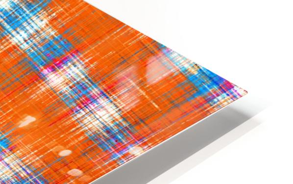 plaid pattern abstract texture in orange blue pink HD Sublimation Metal print