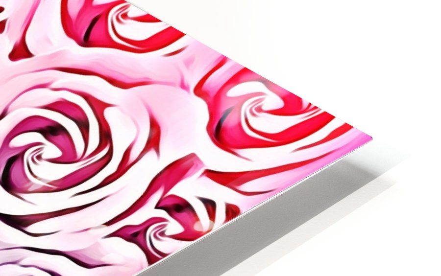 blooming rose pattern texture abstract background in pink and blue HD Sublimation Metal print