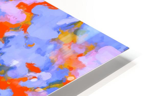 splash painting texture abstract background in red blue orange Impression de sublimation métal HD