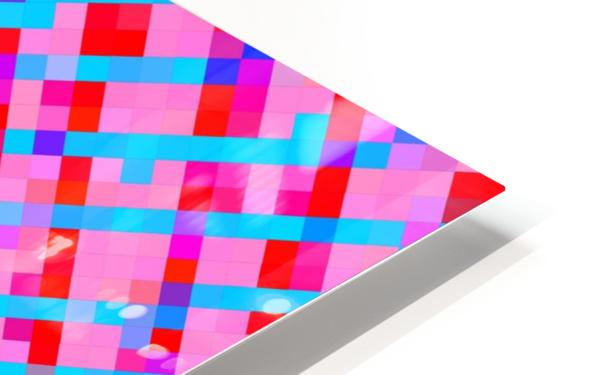 geometric pixel square pattern abstract background in pink blue red HD Sublimation Metal print
