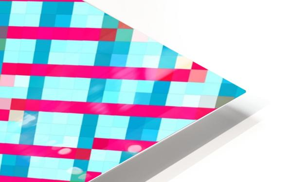 geometric pixel square pattern abstract background in blue pink HD Sublimation Metal print