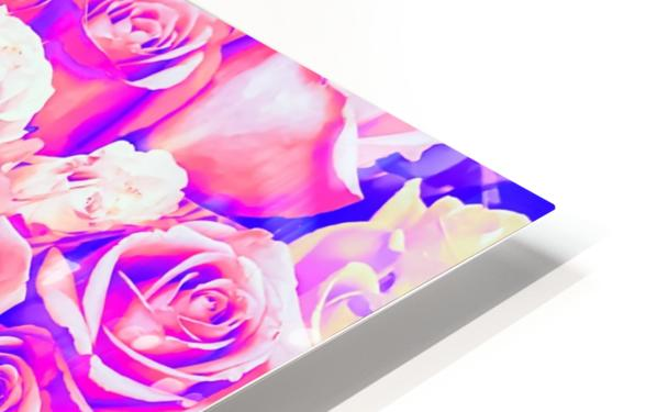 bouquet of roses texture pattern abstract in pink and purple HD Sublimation Metal print