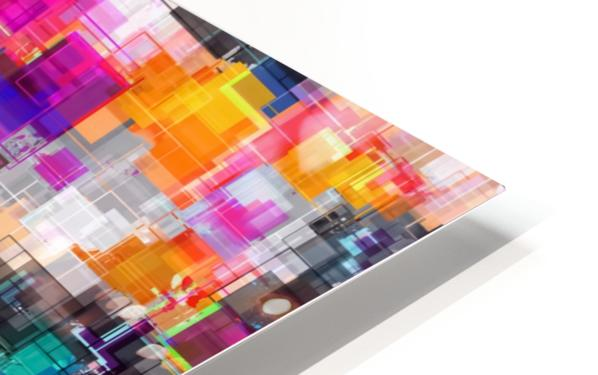 psychedelic geometric square pixel pattern abstract in orange green pink blue HD Sublimation Metal print