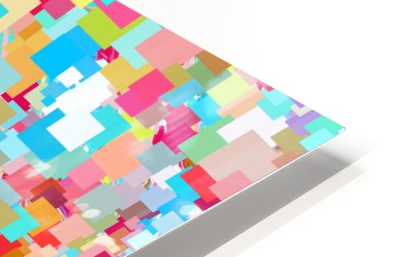 geometric square pixel pattern abstract background in blue pink orange green HD Sublimation Metal print