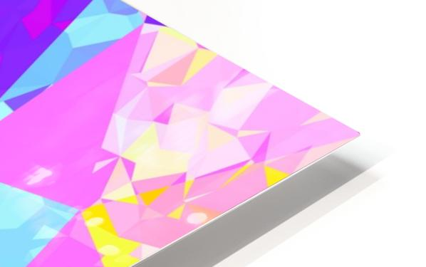 geometric triangle polygon pattern abstract in pink purple blue yellow HD Sublimation Metal print