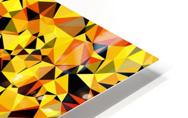 geometric triangle pattern abstract in orange yellow red HD Sublimation Metal print