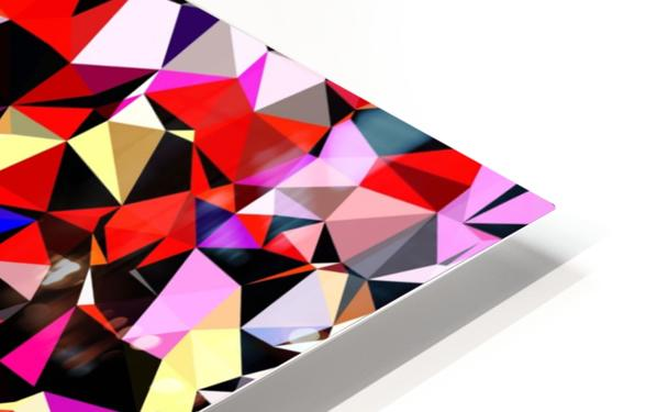 geometric triangle pattern abstract in red pink black blue HD Sublimation Metal print