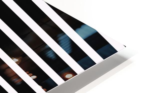Black & White Stripes with Pacific Rose Patch HD Sublimation Metal print