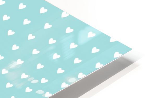 Kids Green Blush Heart Shape Pattern HD Sublimation Metal print