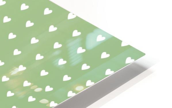 Green Blush Heart Shape Pattern HD Sublimation Metal print