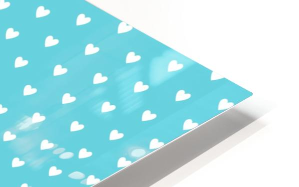 Sweet Light Blue Heart Shape Pattern HD Sublimation Metal print