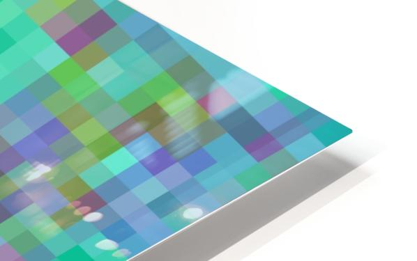 geometric square pixel pattern abstract in green blue pink HD Sublimation Metal print