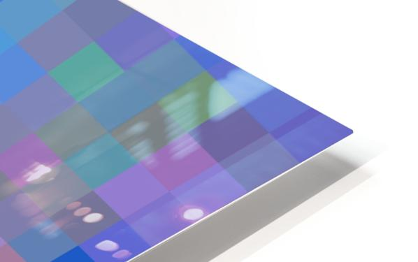 geometric square pixel pattern abstract in purple blue pink HD Sublimation Metal print