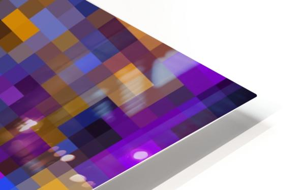 geometric square pixel pattern abstract background in blue purple yellow HD Sublimation Metal print