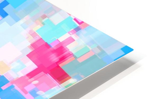 geometric square pattern abstract background in pink and blue HD Sublimation Metal print