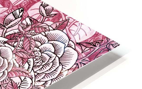 Watercolor Botanical Flowers Garden Pink Flowerbed V HD Sublimation Metal print