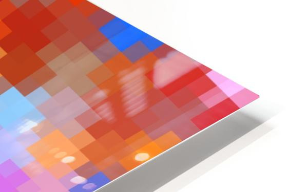 geometric square pixel pattern abstract in pink blue orange HD Sublimation Metal print