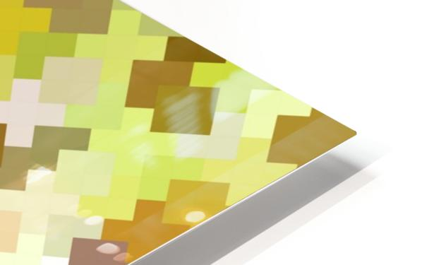 geometric square pixel pattern abstract in yellow and brown HD Sublimation Metal print