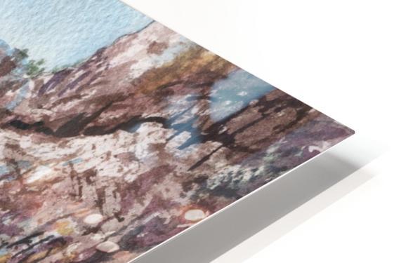 Seascape Harbor Rocky Shore Watercolor Painting HD Sublimation Metal print