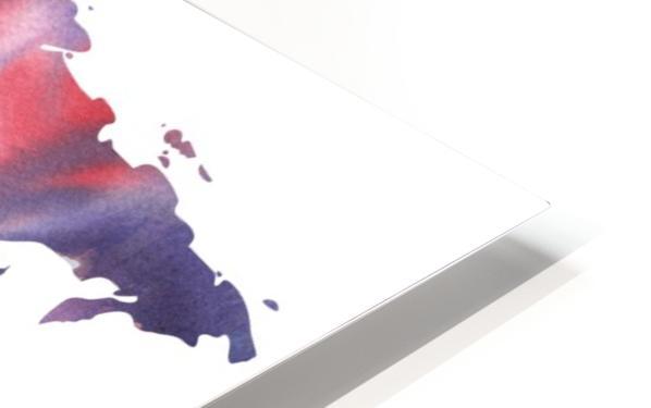 Watercolor Silhouette World Map Purple Blue HD Sublimation Metal print