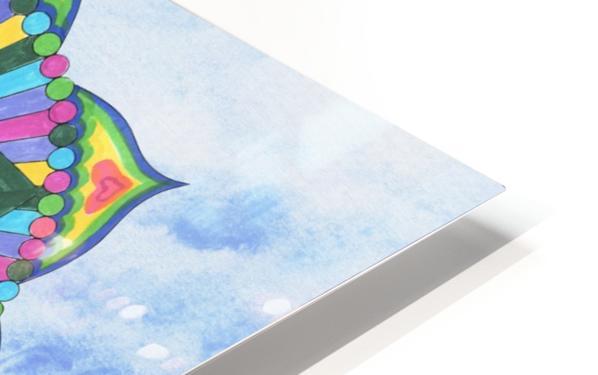 Hand Painted Mandala Watercolor Meditation on Blue HD Sublimation Metal print