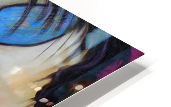 La femme a lunette sous le ciel Bleu HD Sublimation Metal print
