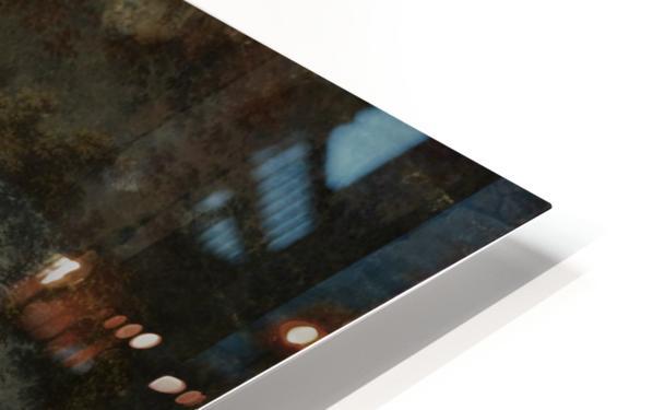 Eendenvijver in een bos met twee jagers HD Sublimation Metal print