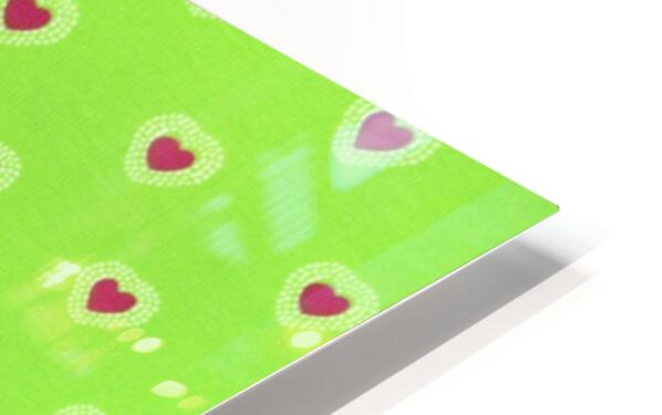 Hearts - Lime - Red HD Sublimation Metal print