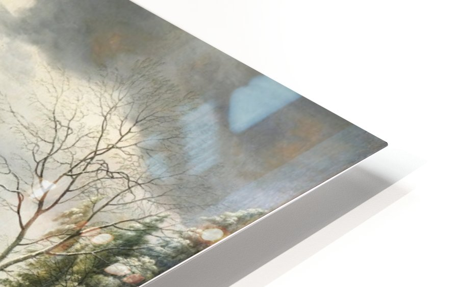 Winter landscape with a cavern and travellers HD Sublimation Metal print