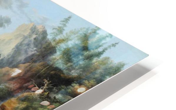Landscape with figures along a river HD Sublimation Metal print