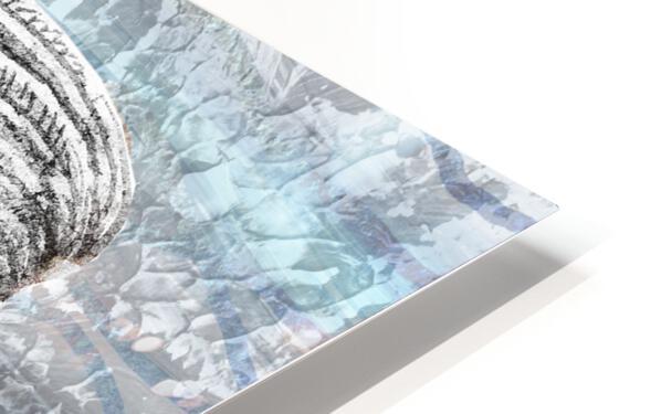 Silver Gray Seashell On Ocean Shore Waves And Rocks II HD Sublimation Metal print
