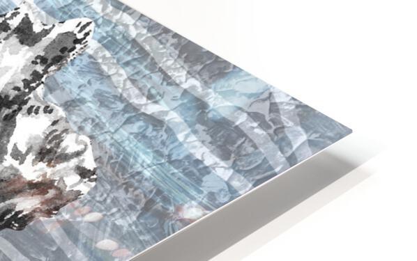 Silver Gray Seashell On Ocean Shore Waves And Rocks III HD Sublimation Metal print