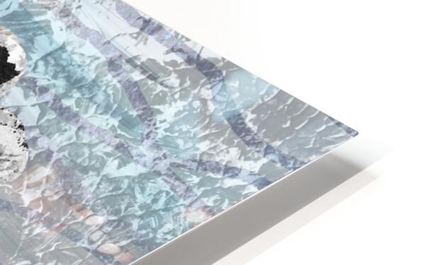 Silver Gray Seashell On Ocean Shore Waves And Rocks VI HD Sublimation Metal print