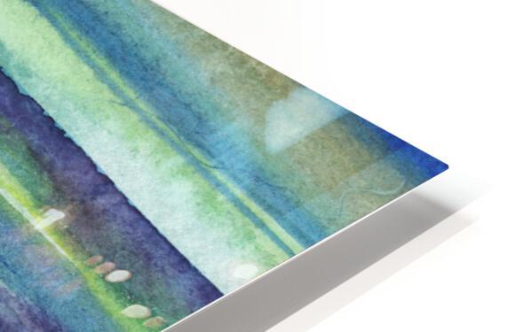 Ocean And Sea Beach Coastal Art Organic Watercolor Abstract Lines VI HD Sublimation Metal print