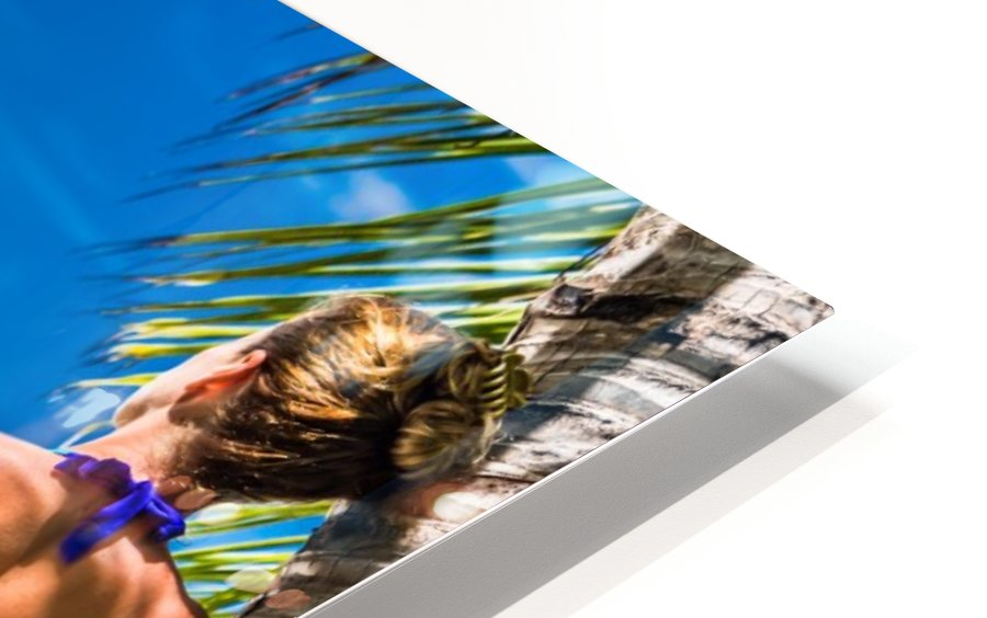 woman in bikini under palm on sea background HD Sublimation Metal print