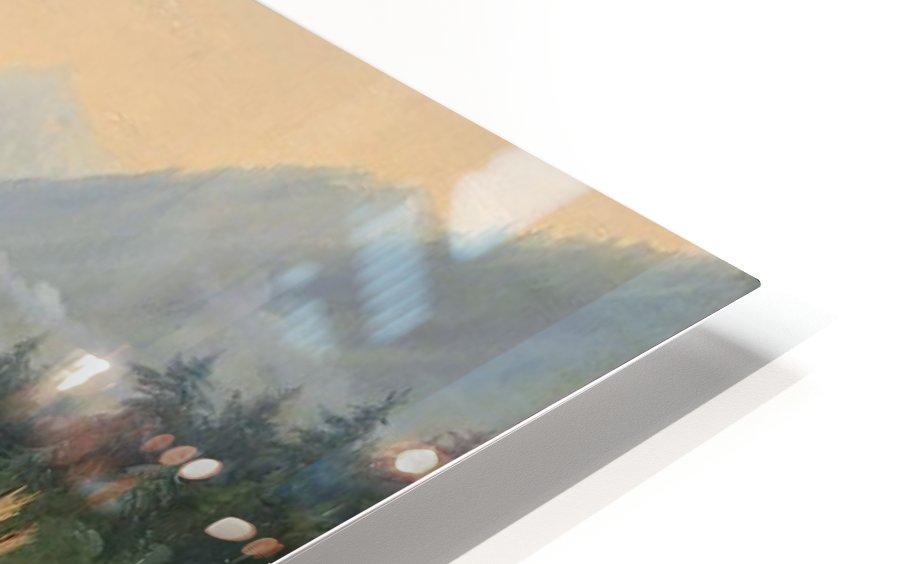 Berger se reposant pres d'une Cascade HD Sublimation Metal print