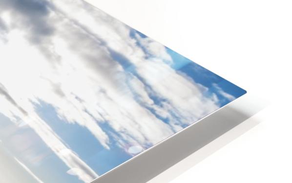 A commercial jet flies through the clouds; Colorado, United States of America HD Sublimation Metal print