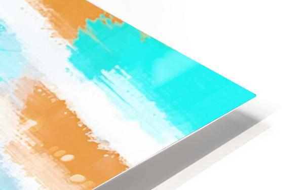 orange and blue painting abstract with white background HD Sublimation Metal print