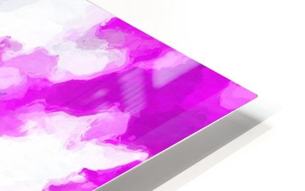psychedelic painting texture abstract in pink purple blue yellow and white HD Sublimation Metal print