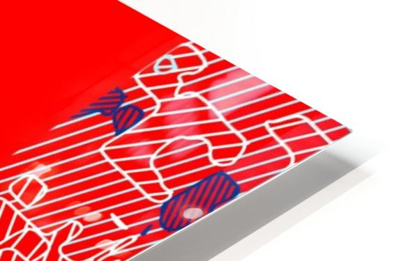 graffiti drawing and painting abstract in red and blue HD Sublimation Metal print