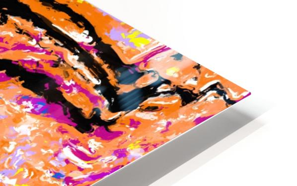 splash painting abstract in pink orange yellow blue and black HD Sublimation Metal print
