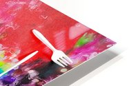 EAT alphabet by fork with colorful painting abstract background HD Metal print