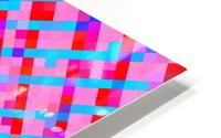 geometric pixel square pattern abstract background in pink blue red HD Metal print
