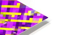 geometric pixel square pattern abstract background in pink purple yellow HD Metal print