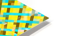 geometric pixel square pattern abstract background in yellow blue brown HD Metal print
